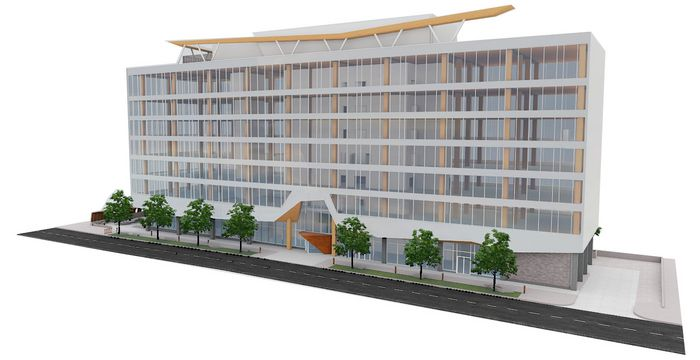 front view render of 77 WADE office building