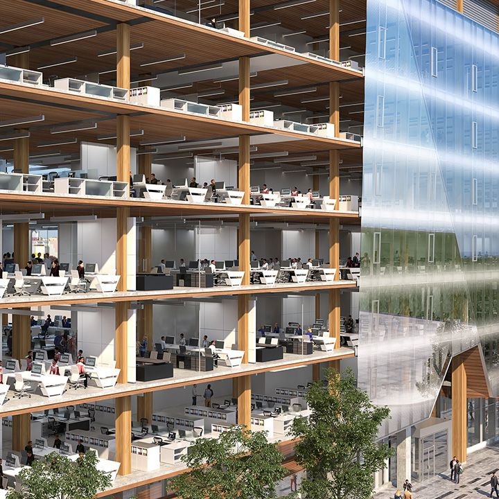 Render of office building with seven floors with building half glass and half exposed and people working at their desk